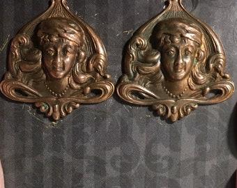 Vintage Deco Copper Lady Woman  Screw Back Earrings