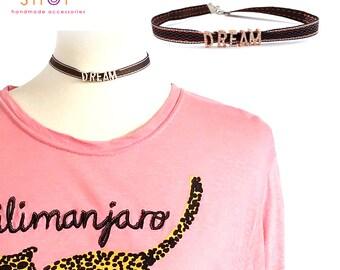 Dream choker,Embellished ribbon letter choker,Rhinestone letter choker necklace,Letter Choker,Choker necklace,Daily necklace,Letter necklace