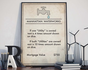Monopoly inspired Manhattan Waterworks Poster, Board Game Print, Nyc, New York City Poster, Home Decor, Urban Art