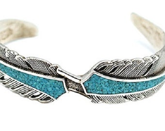 Chip Inlay Feather Bracelet
