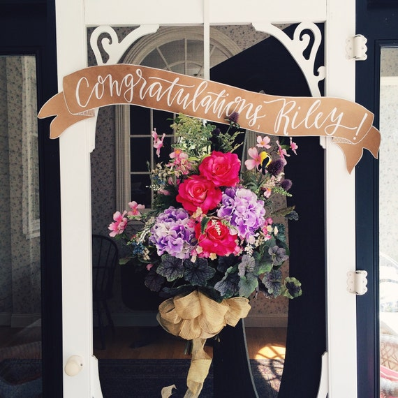 Wedding decor, Kraft paper banner, personalized signage, congratulations, happy birthday, welcome home, customizable event decorations
