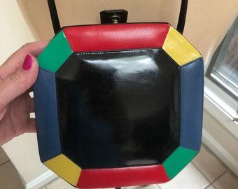Vintage black multi colors hard shaped Lisette shoulder bag, geometric color block octagonal shaped shoulder bag, multi color purse