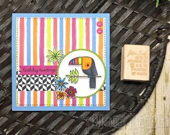 Happy Birthday Tweetings Toucan Floral Fancy Greeting Card Handmade in Blue Pink Orange Green for Wife Girlfriend Sister Mom Daughter Aunt