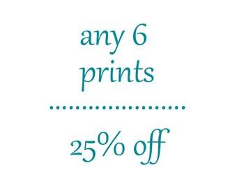 Any Six Prints-Discount-Savings-Fine Art Photography