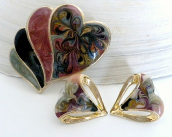Brooch and Earring Set, Heart Jewelry, Vintage Enameled Jewelry, Heart Brooch, Heart Earrings, 1980s Jewelry, Colorful Jewelry Set