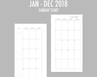 Personal 2018 Monthly Sunday Start Insert (RINGS)