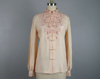 Vintage 1950s Silk Blouse Beautiful 50s Peach Silk Embroidered Blouse Size M