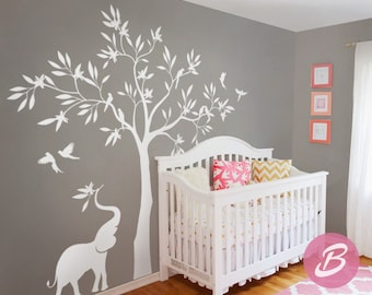 White tree wall decal, Wall decal with elephant, Large tree wall decal, Wall decor for nursery and kids room Vinyl shapes decal -AM014