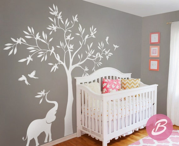 Sticker mural arbre blanc sticker mural avec l phant for Mural en francais