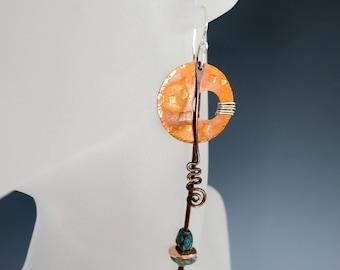 Sterling Silver & Copper Dangle Earrings, Mixed Metal Shoulder Dusters, Sterling Silver Earwire