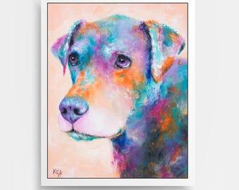 """Dog Art Print - Dog Owner Gift, Dog Lover Gift, Dog Wall Art, Colorful Dog Gift, Dog Print entitled """"Brinks""""."""