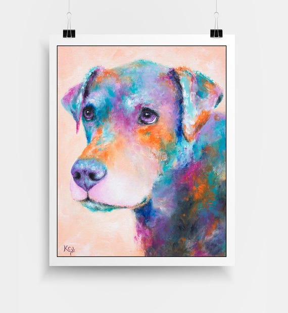 "Dog Art Print - Dog Owner Gift, Dog Lover Gift, Dog Wall Art, Colorful Dog Gift, Dog Print entitled ""Brinks""."
