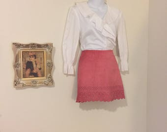 Pretty in Pink Leather Suede Skirt Size Medium