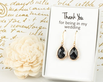 Black Gold Teardrop Earrings, Gold Black Earrings, Black Wedding Jewelry, Bridesmaid Gift, Bridesmaid Earrings, Bridal Accessories