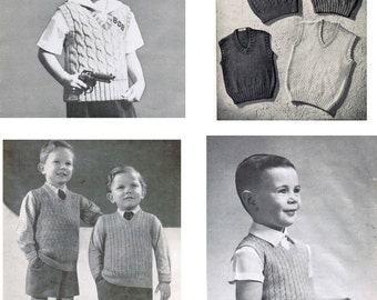 Vintage Boy's Textured Vests Knitting Patterns PDF (set of 8) / Collection of 8 Boy's sleeveless sweater patterns