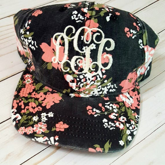 Womens floral monogram hat womens hat with monogram womens 48d3243a0da