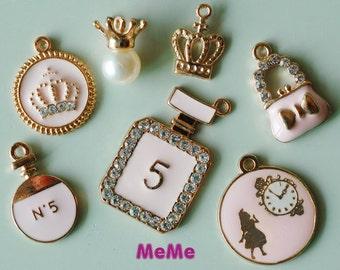 1 Set 7 Pcs Pink Charms Alloy Crown Alice Clock Kawaii Bracelets Pendants Accessories Studs Cabochon Deco Den Phone Case DIY Deco kit PP029