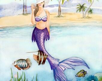 BAHAMA Mermaid Print, Coastal Beach Home Decor, Sun Hat, Fish, Beach, Palm Trees, Fantasy, Bahama Mermaid