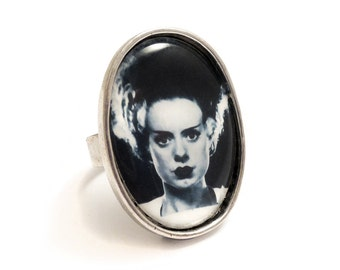 The Bride of Frankenstein ring antique silver adjustable UNIVERSAL STUDIOS 1935 gothic goth