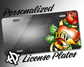 Love Heart Rose Tattoo Banner -AT1046- Airbrush License Plates Personalized Custom Auto Tags