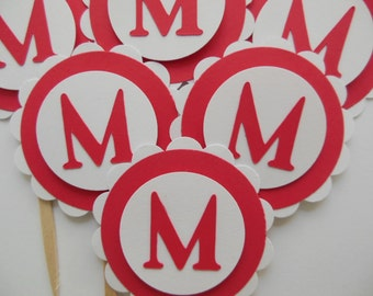 Personalized Letter Cupcake Toppers - Red and White - Letter M Cupcake Toppers - Birthday Party Decorations - Set of 6
