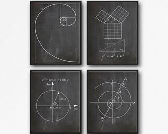 Math Poster Set of Math Posters Fibonacci Golden Spiral Pythagoras's Theorem Euler's Formula Archimedean Spiral Math Wall Art WB210