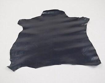 Midnight goatskin leather