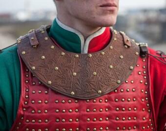 """Leather Gorget; Armor Gorget; Brigandine Gorget """"Bird of Prey"""""""
