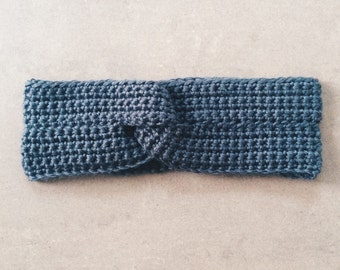 Charcoal Gray Knotted Headband - Crochet Headwrap Earwarmer for women