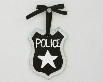 Personalized Police Badge Ornament, Policeman Ornament, Police Ornament, Police Officer Gift, Gift for Law Enforcement, Police Woman Gift