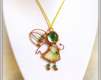 Angel shaped stained glass pendant. Beautiful pendant looks like a little angel with an umbrella.