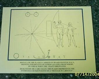 NASA Pioneer 10/11 space probe plaque - Carl Sagan