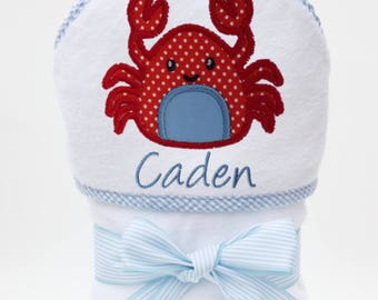 Baby Beach Towel, Hooded Bath Towel, Personalized Baby Towel, Monogrammed Towel, Crab Baby, Toddler Beach Towel, Baby Boy, Toddler Boy