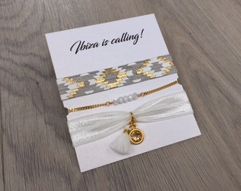 Ibiza bracelet set   free shipping   Aztec   summer   quote   tropical   gold   grey   white   mothers day