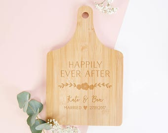 Happily Ever After Wedding Gift Wooden Serving Board