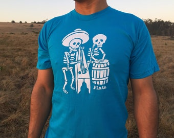 Musical Skeletons Men's Blue T-shirt with White Dia de los Muertos Graphic Shirt Day of the Dead Skeleton