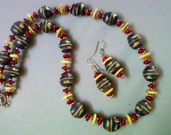 Blue, Red and Yellow Ethnic Inspired Necklace and Earrings (0775)