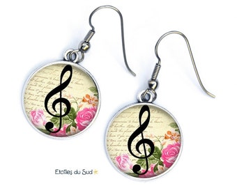 Music note Earrings , Cabochon in resin, steel hooks , anti allergic, jewelry picture, Ref ; 271