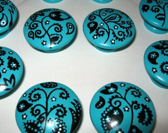 Set of 8 - TEAL Knobs Pulls with BLACK Paisley Design
