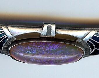 VINTAGE STERLING SILVER black enamel dragon's breath opal art deco brooch pin