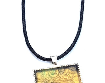 Yellow and green handpainted necklace, resin jewellery, wearable art, arty gift