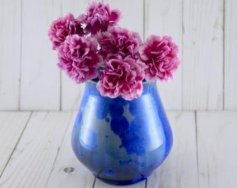 Small Ceramic Vase, Crystalline, Blue