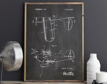Biplane Blueprint, Pitts Biplane, Aerobatic Biplane, Aviation Decor, Biplane Patent, Curtis Pitts, Airplane Nursery, Pitts, INSTANT DOWNLOAD
