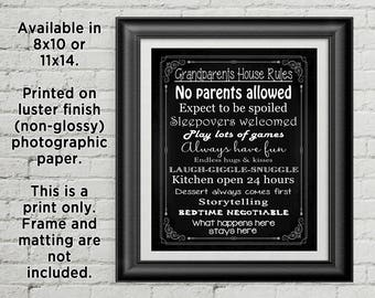 Grandparents House Rules Photographic Print, Grandma & Grandpa Rules, Available is sizes 8x10 or 11x14, Grandparent Gift