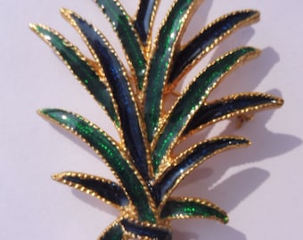 Vintage Signed Angel Blue and Green Enamel Leaf Shaped Brooch.