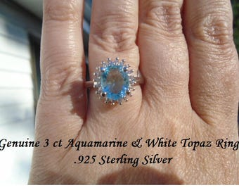 Genuine 3 ct Aquamarine & White Topaz Ring