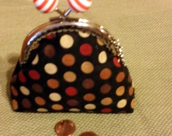 Coin purse, metal kiss push lock frame, 100% cotton, brown, orange, yellow, orange,  circles on black