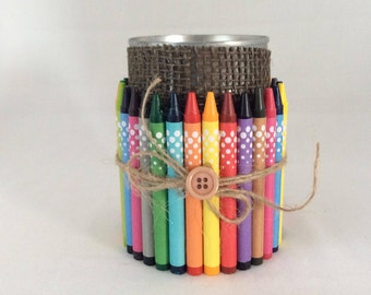 Tin Can Pencil Holder Back to School Desk Organizer Handmade