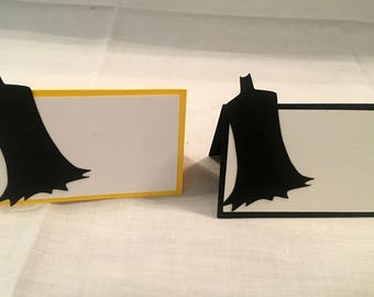 12 Batman Place/Food cards, Batman party, Batman birthday