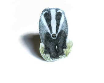 Badger Brooch, Woodland Animal Pin Badge, Wildlife, Nature Jewellery